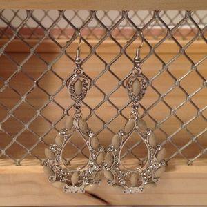 Silver Tone Light Green Dangle Fashion Earrings